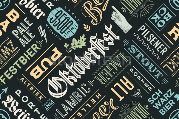 Seamless pattern with types of beer and hand drawn lettering Stock photo © FoxysGraphic