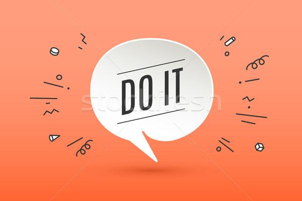 Motivación positivo anunciante banner papel burbuja Foto stock © FoxysGraphic