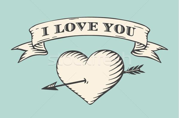 Edad cinta mensaje amor corazón flecha Foto stock © FoxysGraphic
