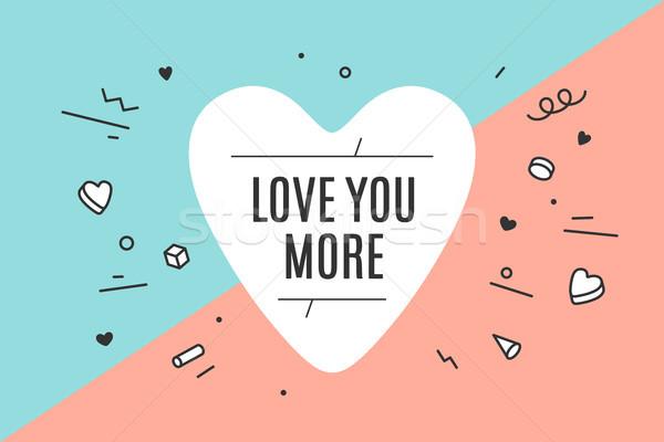 Szív ikon szöveg szeretet több kézzel rajzolt Stock fotó © FoxysGraphic