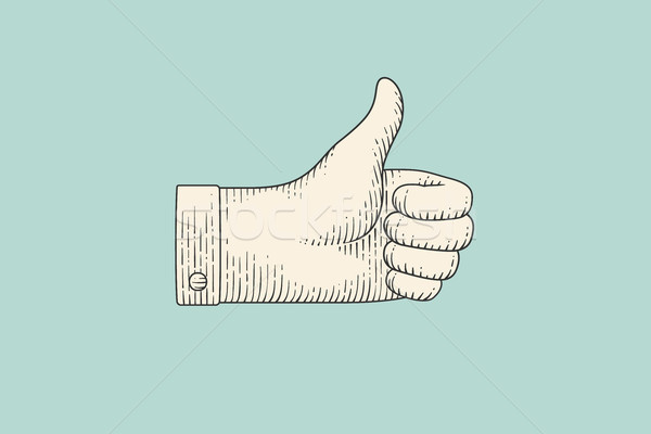 Drawing of hand sign thumbs up in engraving style Stock photo © FoxysGraphic