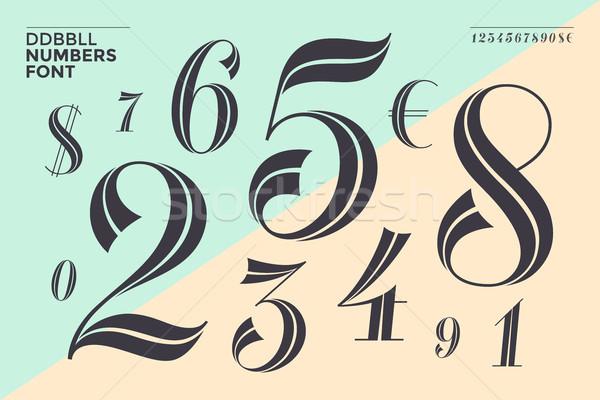 Numery chrzcielnica klasyczny geometryczny projektu banner Zdjęcia stock © FoxysGraphic