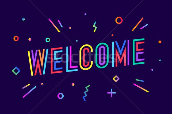 歓迎 グリーティングカード バナー ポスター ステッカー 幾何学的な ストックフォト © FoxysGraphic
