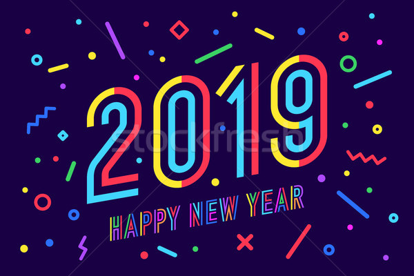 2019, Happy New Year. Greeting card Happy New Year 2019 Stock photo © FoxysGraphic