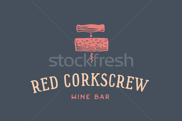Label of wine bar with corkscrew Stock photo © FoxysGraphic