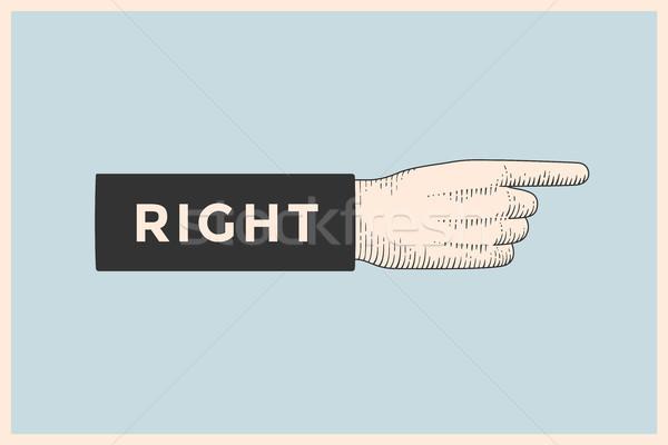 Rysunek znak ręką wskazując palec stylu Zdjęcia stock © FoxysGraphic