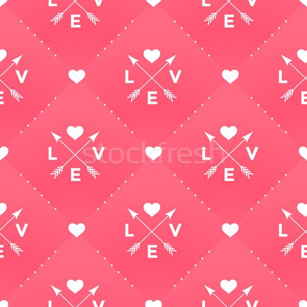 Bezszwowy biały wzór miłości serca arrow Zdjęcia stock © FoxysGraphic