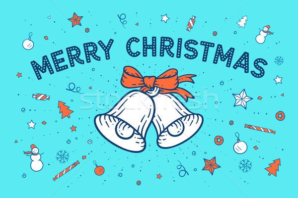 веселый Рождества текста счастливым красочный Сток-фото © FoxysGraphic