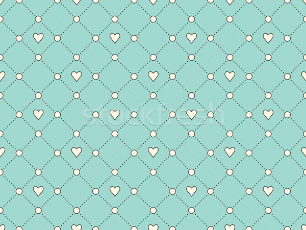 Seamless pattern with white heart and dot on a turquoise background for Valentine Day. Vector Illust Stock photo © FoxysGraphic