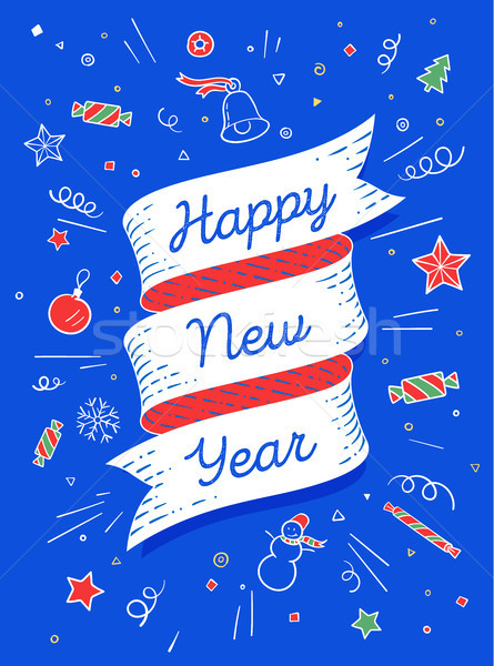 Happy new year. Ribbon banner in bright colorful style Stock photo © FoxysGraphic