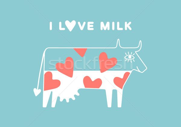 Happy cow with udder and red heart full of milk Stock photo © FoxysGraphic