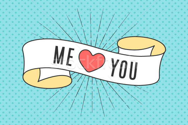Szalag szalag szöveg engem piros szív Stock fotó © FoxysGraphic