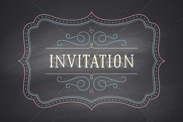Old vintage frame with text Invitation Stock photo © FoxysGraphic