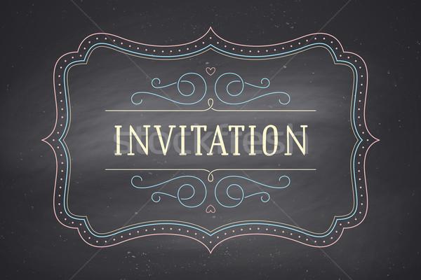 Vieux vintage cadre texte invitation carte de vœux Photo stock © FoxysGraphic
