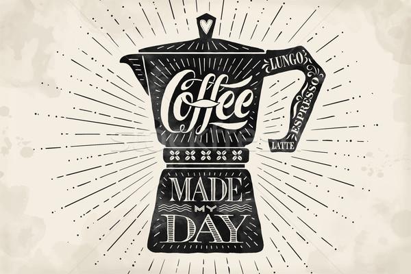 плакат кофе банка рисованной день Сток-фото © FoxysGraphic