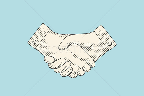 Vintage drawing of handshake in engraving style Stock photo © FoxysGraphic