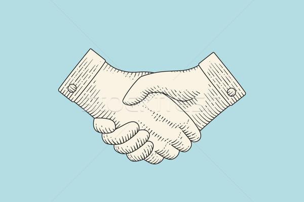 Klasszikus rajz kézfogás vésés stílus szerződés Stock fotó © FoxysGraphic