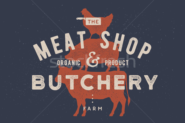 Poster for butchery, meat shop. Cow, pig, hen stand on each other Stock photo © FoxysGraphic