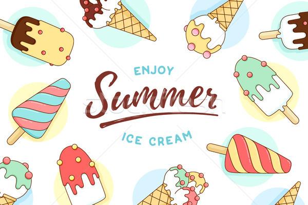 мороженым иконки шаблон текста наслаждаться лет Сток-фото © FoxysGraphic