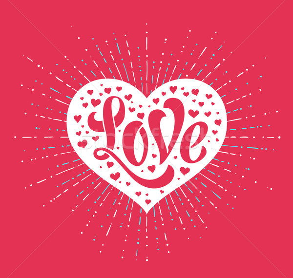 Hand lettering Love in white heart on a red background for greeting card. Handmade calligraphy. Vect Stock photo © FoxysGraphic