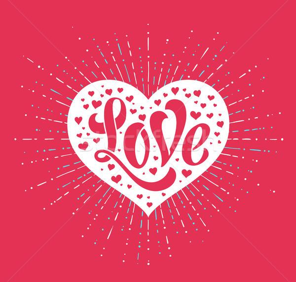 Hand Liebe weiß Herz rot Grußkarte Stock foto © FoxysGraphic