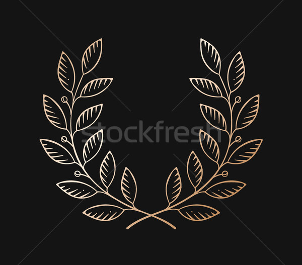 Set of old vintage object in engraving style. Laurel wreath icon isolated on a black background. Han Stock photo © FoxysGraphic