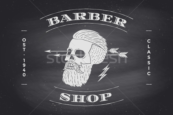 Poster of Barber Shop label on black chalkboard Stock photo © FoxysGraphic