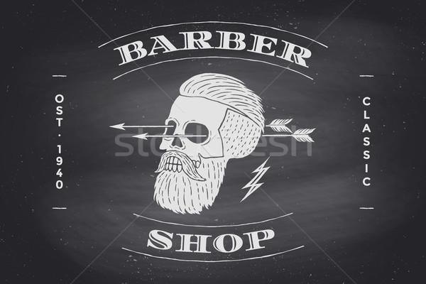 ポスター 理髪 ショップ ラベル 黒 黒板 ストックフォト © FoxysGraphic