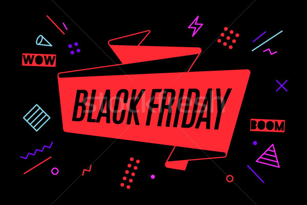 Lint banner tekst black friday korting promotie Stockfoto © FoxysGraphic