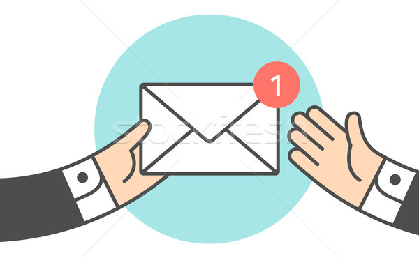 Icon of new mail envelope, two businessman Stock photo © FoxysGraphic