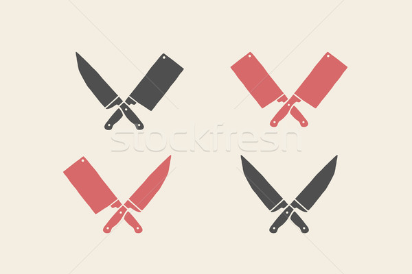 Set of restaurant knives icons Stock photo © FoxysGraphic