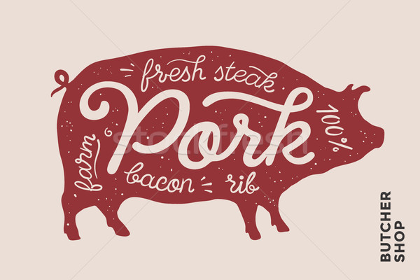 Trendy illustration with red pig silhouette and words Pork Stock photo © FoxysGraphic