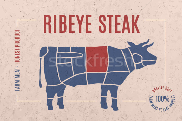 Label for meat with text Ribeye Steak Stock photo © FoxysGraphic