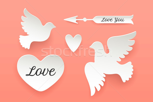 Set of paper objects, heart, pigeon, bird, arrow Stock photo © FoxysGraphic