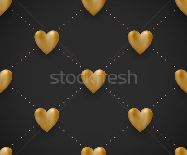 Végtelen minta arany szívek fekete Valentin nap nap Stock fotó © FoxysGraphic