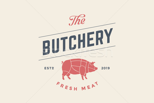 Emblem of Butchery meat shop with Pig silhouette Stock photo © FoxysGraphic