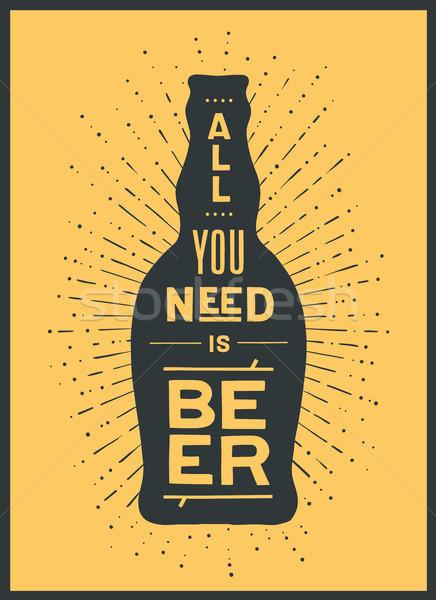 Poszter sör nem szalag sörösüveg szöveg Stock fotó © FoxysGraphic