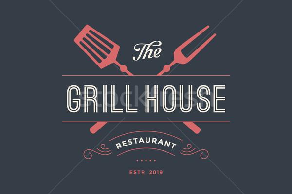 Címke grill ház étterem villa szöveg Stock fotó © FoxysGraphic