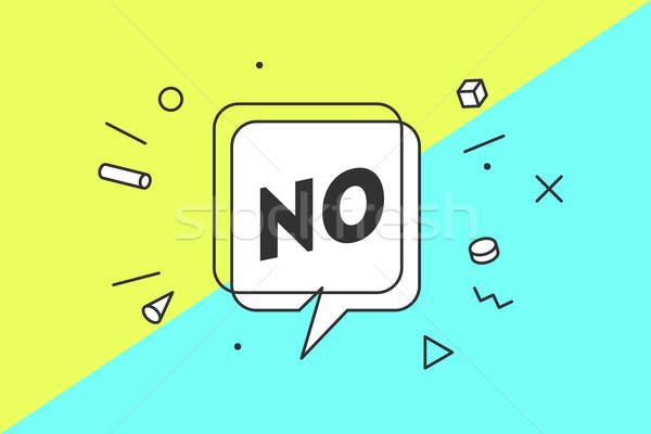 Não bandeira balão de fala cartaz adesivo geométrico Foto stock © FoxysGraphic