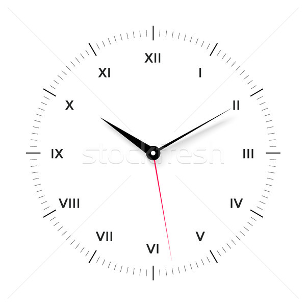 White clock face for with black and red pointer. Roman numerals Stock photo © FoxysGraphic