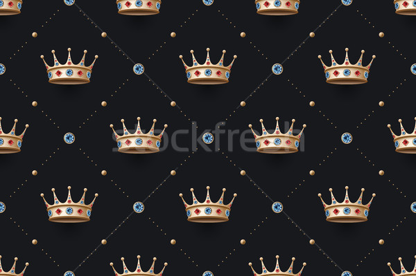 Sin costura oro rey corona diamantes patrón Foto stock © FoxysGraphic