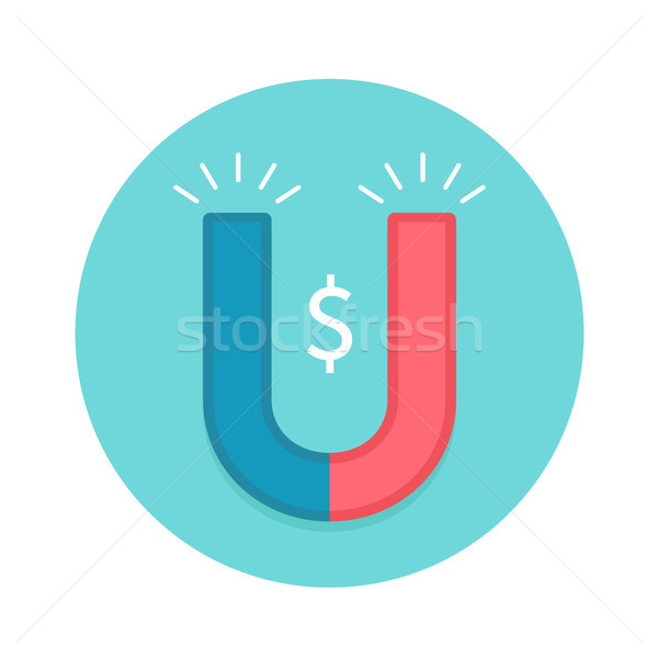 Icon of magnet. Red and white magnet with symbol Dollar Stock photo © FoxysGraphic