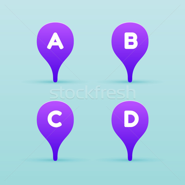 Map violet pin icon with letter on a blue background. Vector illustration. Stock photo © FoxysGraphic