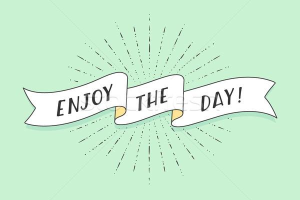 лента текста наслаждаться день красочный Vintage Сток-фото © FoxysGraphic