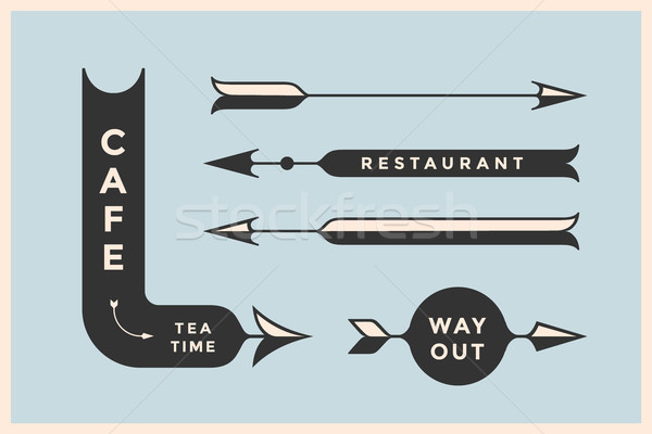 Set of vintage arrows and banners with inscription Cafe, Way Out, Restaurant Stock photo © FoxysGraphic