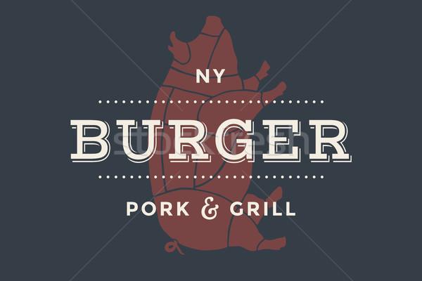 Etykiety burger bar grill symbolika widelec Zdjęcia stock © FoxysGraphic