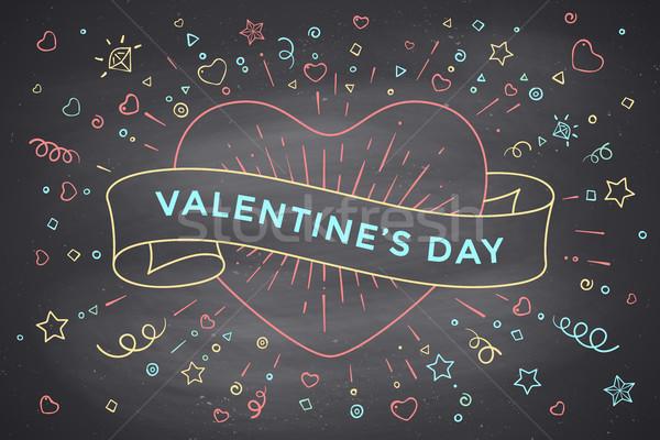 Jahrgang Band Nachricht Valentinsdag Tag Herz Stock foto © FoxysGraphic