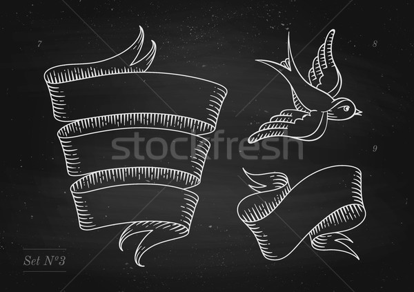 Set of old vintage ribbon banners and drawing in engraving style Stock photo © FoxysGraphic