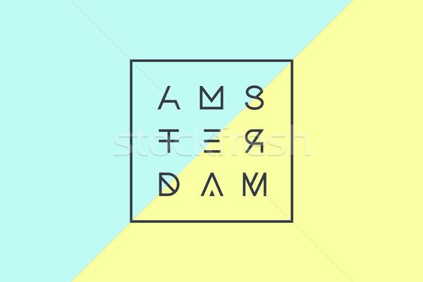 Poster with text Amsterdam, Netherlands in geometric style Stock photo © FoxysGraphic