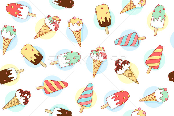 Colorful seamless pattern with ice cream different pastel color in line graphic Stock photo © FoxysGraphic